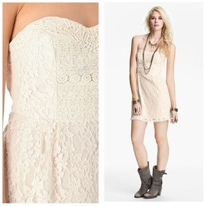 Free People Heart Strapless Ivory Lace Dress